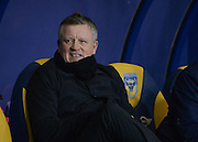 Northampton Town Manager Chris Wilder during the Sky Bet League 2 match between Oxford United and Northampton Town at the Kassam Stadium, Oxford, England on 16 February 2016. Photo by Adam Rivers.