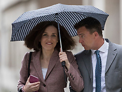© Licensed to London News Pictures. 24/04/2017. London, UK. MPs Theresa Villiers and Mark Lancaster arrive at Conservative party headquarters in London. The Prime Minister posed for portraits with individual Conservative candidates at headquarters ahead of general election which is due to take place on June 8th. Photo credit: Peter Macdiarmid/LNP