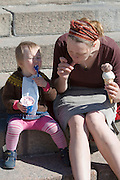 Senate Square; Mother and kid having an ice cream.