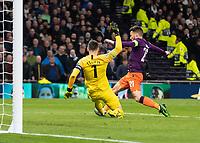 Football - 2018 / 2019 UEFA Champions League - Quarter Final , First Leg: Tottenham Hotspur vs. Manchester City<br /> <br /> Hugo Lloris (Tottenham FC) rushes out to clear in front of David Silva (Manchester City) at White Hart Lane Stadium.<br /> <br /> COLORSPORT/DANIEL BEARHAM