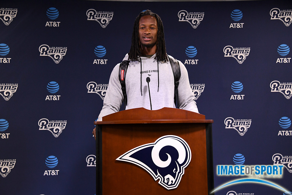 Los Angeles Rams running back Todd Gurley speaks at press conference at Cal Lutheran.