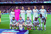 The Liverpool team line up for photographs at the start of the Champions League semi-final leg 1 of 2 match between Barcelona and Liverpool at Camp Nou, Barcelona, Spain on 1 May 2019.
