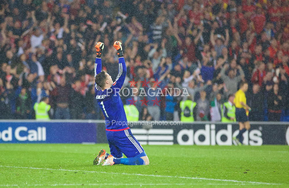 CARDIFF, WALES - Friday, June 12, 2015: Wales' Wayne Hennessey celebrates his side's victory at full time of the UEFA Euro 2016 Qualifying Round Group B match against Belgium at the Cardiff City Stadium. (Pic by Mark Hawkins/Propaganda)