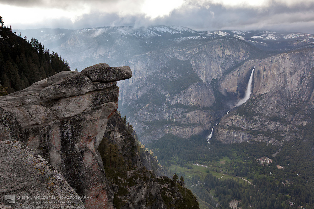 Overhanging Rock & Yosemite Falls as seen from Glacier Point, Yosemite National Park