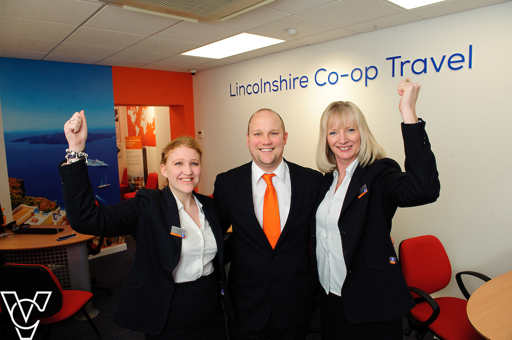 Pictured is, from left, Lincolnshire Co-operative Sleaford Travel branch staff Shannon Bannister, Paul Herring and Amanda Hurry.  The staff at the Lincolnshire Co-op's Sleaford Travel branch were awarded gold at the Lincolnshire Co-op's staff awards for Cruise travel branch of the year.<br /> <br /> Picture: Chris Vaughan/Chris Vaughan Photography<br /> Date: February 8, 2016