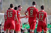*Thomas Ouwejan* of AZ Alkmaar, scores the first goal to make it 1-0 (2vl),, *Guus Til* of AZ Alkmaar (l), *Wout Weghorst* of AZ Alkmaar, (2vr), *Jeremy Helmer* of AZ Alkmaar, (r).
