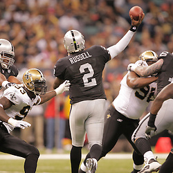 2008 October, 12: Oakland Raiders quarterback JaMarcus Russell (2) throws a pass during a week six regular season game between the Oakland Raiders and the New Orleans Saints at the Louisiana Superdome in New Orleans, LA.