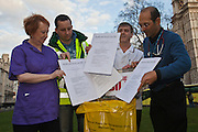 Binning the Health and Social Care Bill! Medical Professionals Mary Locke, ward house keeper, west midlands, Dave Skidmore, paramedic, Sussex, Gary Watts, radiographer, north London, Dr Kambiz Boomla, GP, east London. This week as the governments controversial Health and Social Care Bill enters its final stages in the House of Lords, patients, health workers and campaigners are to come together on Wednesday for a TUC-organised Save Our NHS rally in Westminster. On Wednesday (7 March 2012) over 2,000 nurses, midwives, doctors, physiotherapists, managers, paramedics, radiographers, cleaners, porters and other employees from across the health service will join with patients to fill Central Hall Westminster. Once inside they will listen to speeches from politicians, fellow health workers, union leaders and health service users.