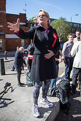 © Licensed to London News Pictures. 03/05/2018. London, UK. Stand up comedian and Labour NEC member EDDIE IZZARD speaks outside Pimlico Tube Station as part of 'Unseat Westminster Tory Council'. The gathering was arranged to round up volunteers to speak to Westminster residents who said they would vote for labour. Photo credit : Tom Nicholson/LNP