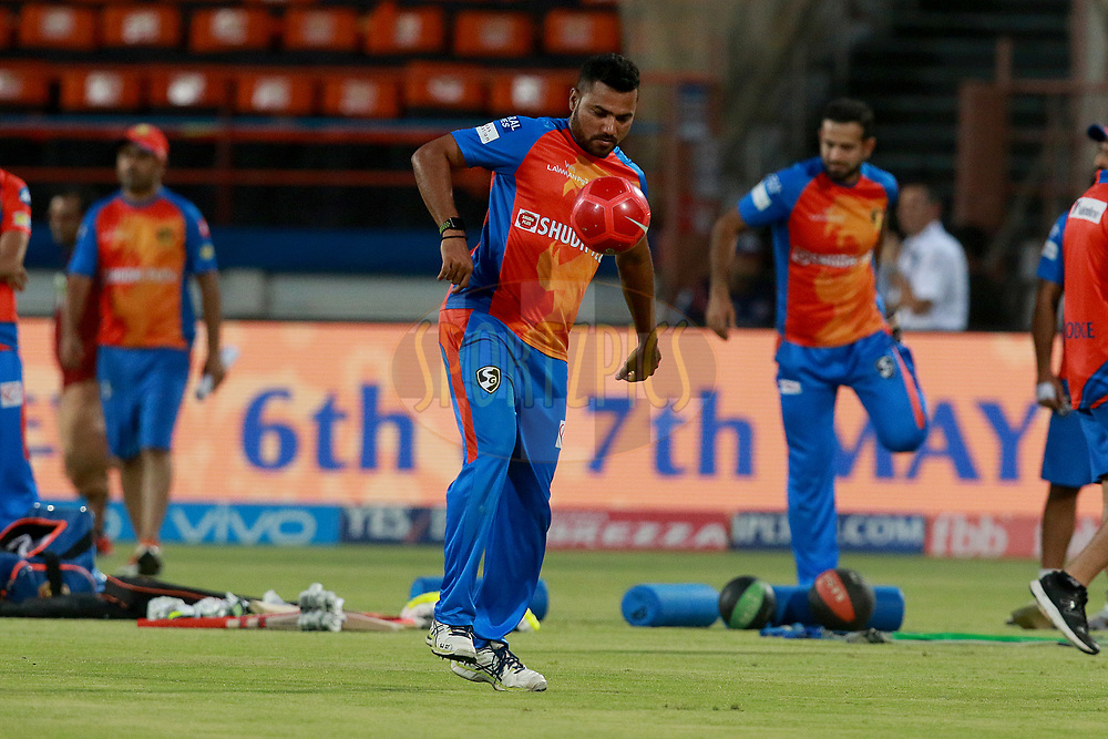 Shadab Jakati of GL before  match 35 of the Vivo 2017 Indian Premier League between the Gujarat Lions and the Mumbai Indians  held at the Saurashtra Cricket Association Stadium in Rajkot, India on the 29th April 2017<br /> <br /> Photo by Rahul Gulati - Sportzpics - IPL