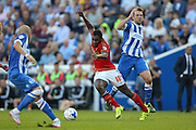 midfielder Michail Antonio of Nottingham Forest attacks the  Brighton goal during the Sky Bet Championship match between Brighton and Hove Albion and Nottingham Forest at The American Express Community Stadium, Brighton and Hove, England on 7 August 2015. Photo by Phil Duncan.