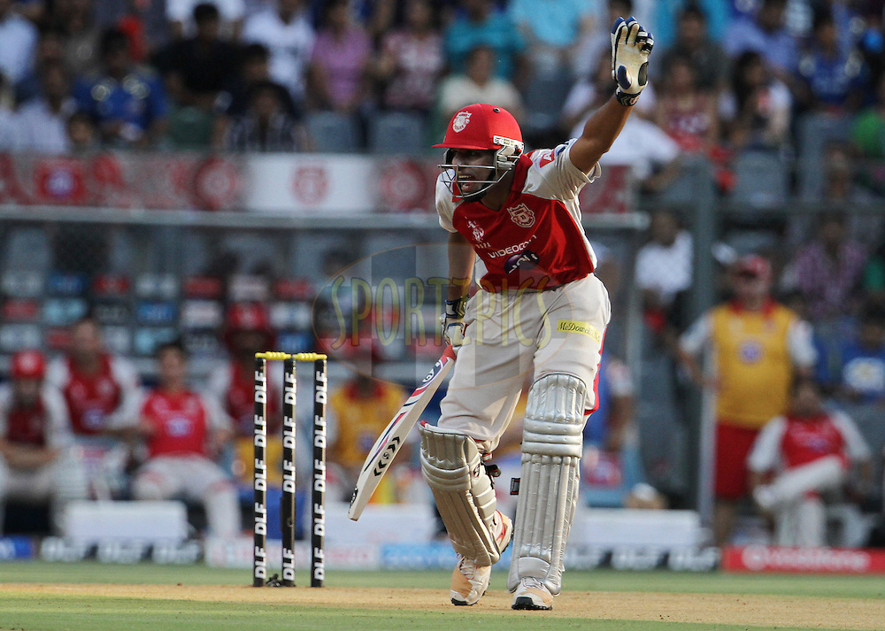 Kings XI Punjab player Nitin Saini reacts during match 28 of the Indian Premier League ( IPL) 2012  between The Mumbai Indians and the Kings X1 Punjab held at the Wankhede Stadium in Mumbai on the 22nd April 2012..Photo by: Vipin Pawar/IPL/SPORTZPICS