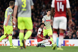 Mohamed Elneny of Arsenal appeals to the referee - Mandatory by-line: Patrick Khachfe/JMP - 14/09/2017 - FOOTBALL - Emirates Stadium - London, England - Arsenal v Cologne - UEFA Europa League Group stage