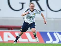 LLANELLI, WALES - Saturday, September 15, 2012: Scotland's Joanne Love celebrates scoring the first goal against Wales during the UEFA Women's Euro 2013 Qualifying Group 4 match at Parc y Scarlets. (Pic by David Rawcliffe/Propaganda)