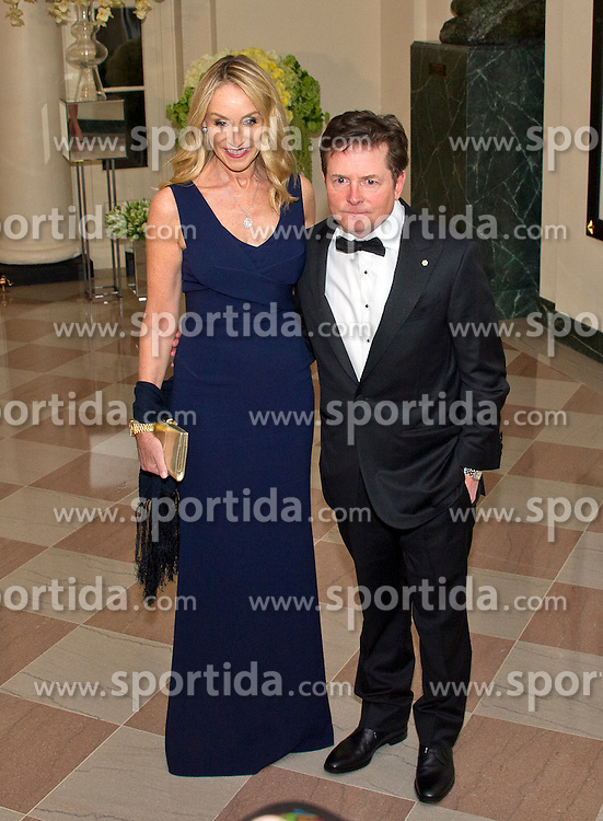 Actor Michael J. Fox, right, and Tracy Pollan, left, arrive for the State Dinner in honor of Prime Minister Trudeau and Mrs. Sophie Gr&eacute;goire Trudeau of Canada at the White House in Washington, DC on Thursday, March 10, 2016. EXPA Pictures &copy; 2016, PhotoCredit: EXPA/ Photoshot/ Ron Sachs<br /> <br /> *****ATTENTION - for AUT, SLO, CRO, SRB, BIH, MAZ, SUI only*****