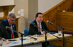 North Berwick, East Lothian, Scotland, United Kingdom, 28 November 2019. General Election: First hustings for the 5 candidates seeking election as MP for East Lothian with questions from the audience ranging from Defence to Honesty.Pictured (L to R): sitting MP Martin Whitfield, Scottish Labour Party candidate, Haddington and Lammermuir ward councillor Craig Hoy, Scottish Conservative & Unionist Party candidate.<br /> Sally Anderson | EdinburghElitemedia.co.uk