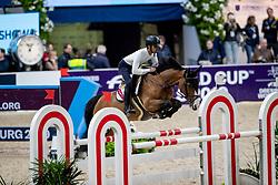 ALMOBTY Khaled Abdulrahman (KSA), Dona Evita<br /> Göteborg - Gothenburg Horse Show 2019 <br /> Longines FEI Jumping World Cup™ Final<br /> Training Session<br /> Warm Up Springen / Showjumping<br /> Longines FEI Jumping World Cup™ Final and FEI Dressage World Cup™ Final<br /> 03. April 2019<br /> © www.sportfotos-lafrentz.de/Stefan Lafrentz