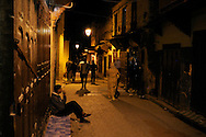 Morocco, Fez. Streets of the medina at night.