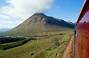 Royal Scotsman passing the gentle slopes of Beinn Dorain near Bridge of Orchy.