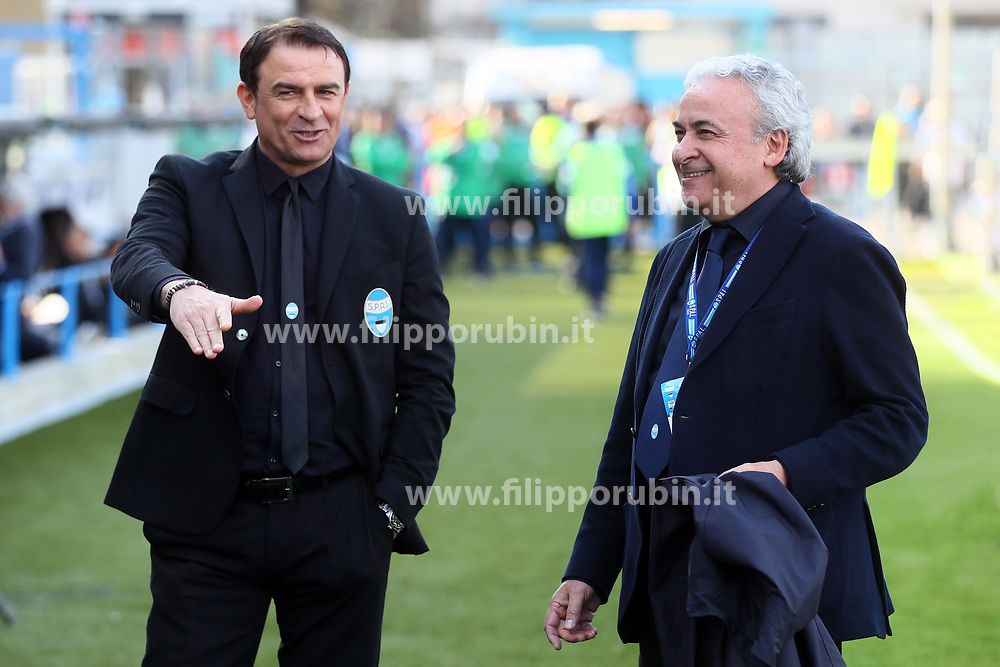"""Foto Filippo Rubin<br /> 07/04/2018 Ferrara (Italia)<br /> Sport Calcio<br /> Spal - Atalanta - Campionato di calcio Serie A 2017/2018 - Stadio """"Paolo Mazza""""<br /> Nella foto: LEONARDO SEMPLICI (ALLENATORE SPAL) E WALTER MATTIOLI (PRESIDENTE SPAL)<br /> <br /> Photo by Filippo Rubin<br /> April 07, 2018 Ferrara (Italy)<br /> Sport Soccer<br /> Spal vs Atalanta - Italian Football Championship League A 2017/2018 - """"Paolo Mazza"""" Stadium <br /> In the pic: LEONARDO SEMPLICI (SPAL'S TRAINER) AND WALTER MATTIOLI (SPAL)"""