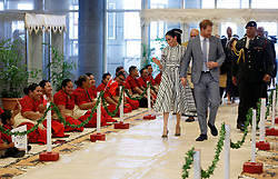 The Duke and Duchess of Sussex arrive for their meeting with Tongan prime minister Akilisi Pohiva and his cabinet on the second day of the royal couple's visit to Tonga.