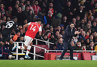Football - 2019 / 2020 Premier League - Arsenal vs. Manchester United<br /> <br /> Arsenal head coach Mikel Arteta encourages his team from the technical area, at The Emirates Stadium.<br /> <br /> COLORSPORT/ASHLEY WESTERN