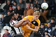 Port Vale midfielder Marcus Harness (7) and Grimsby Town forward Jamille Matt (29) battles for possession  during the EFL Sky Bet League 2 match between Grimsby Town FC and Port Vale at Blundell Park, Grimsby, United Kingdom on 10 March 2018. Picture by Mick Atkins.