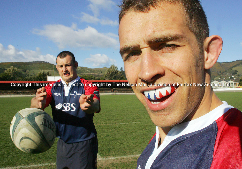 Tasman Makos prop John Brooks, left, and Chris Bentley wearing their makos teeth mouthguards.22/08/2006139253Marion Van DijkNelsonThis image is subject to copyright by The Nelson Mail, a division of Fairfax New Zealand Ltd.