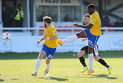 Bristol Rovers' Nathan Blissett  gets a shot away  - Photo mandatory by-line: Neil Brookman/JMP - Mobile: 07966 386802 - 18/04/2015 - SPORT - Football - Dover - Crabble Athletic Ground - Dover Athletic v Bristol Rovers - Vanarama Football Conference
