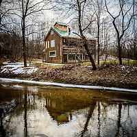 Photo of the Sugar Shack in Deep River County Park in Hobart Indiana. In the Sugar Shack, tree sap is turned into syrup using a wood burining evaporator.