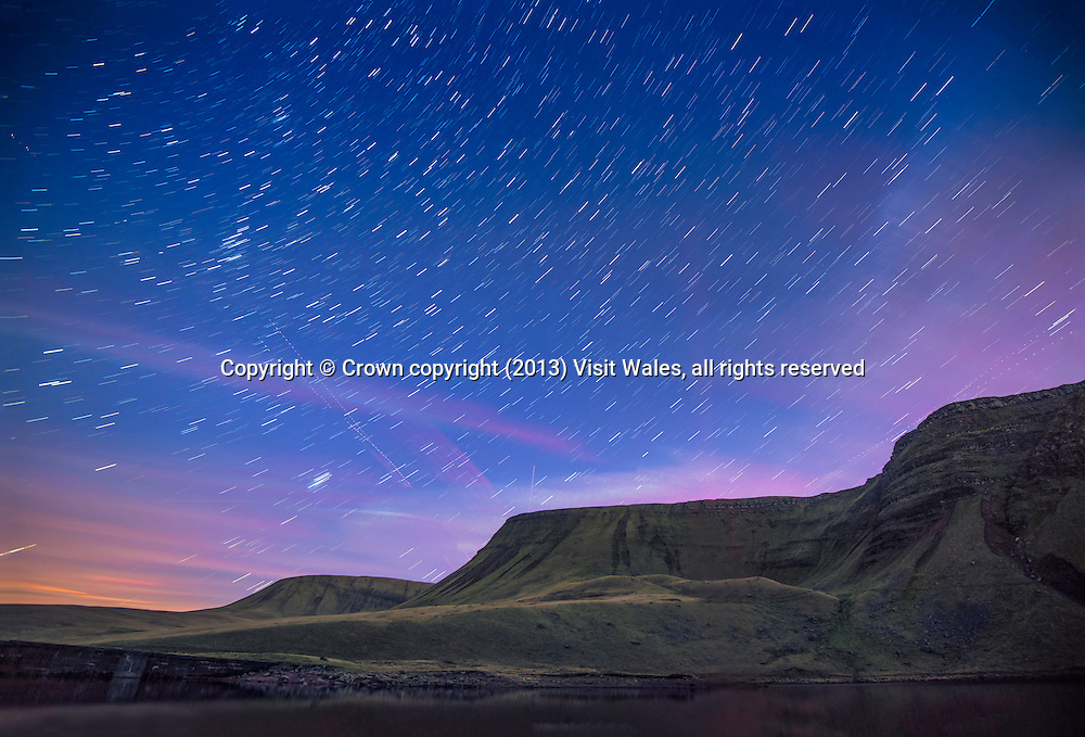 Bannau, Sir Gaer and Fan Brycheiniog from Llyn y Fan Fach<br /> Black Mountain<br /> Brecon Beacons<br /> Carmarthenshire<br /> Dark Skies<br /> South