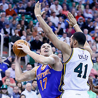 09 December 2015: Utah Jazz forward Trey Lyles (41) defends on New York Knicks forward Lou Amundson (17) during the Utah Jazz 106-85 victory over the New York Knicks, at the Vivint Smart Home Arena, Salt Lake City, Utah, USA.