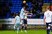 Sunderland defender Lamine Kone (23) and Bolton Wanderers forward Aaron Wilbraham (18)  battle for the ball  during the EFL Sky Bet Championship match between Bolton Wanderers and Sunderland at the Macron Stadium, Bolton, England on 20 February 2018. Picture by Simon Davies.