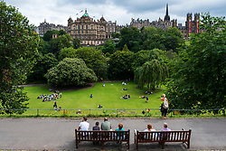 View of Princes Street Gardens on a fine summer'safternoon, Scotland ,UK