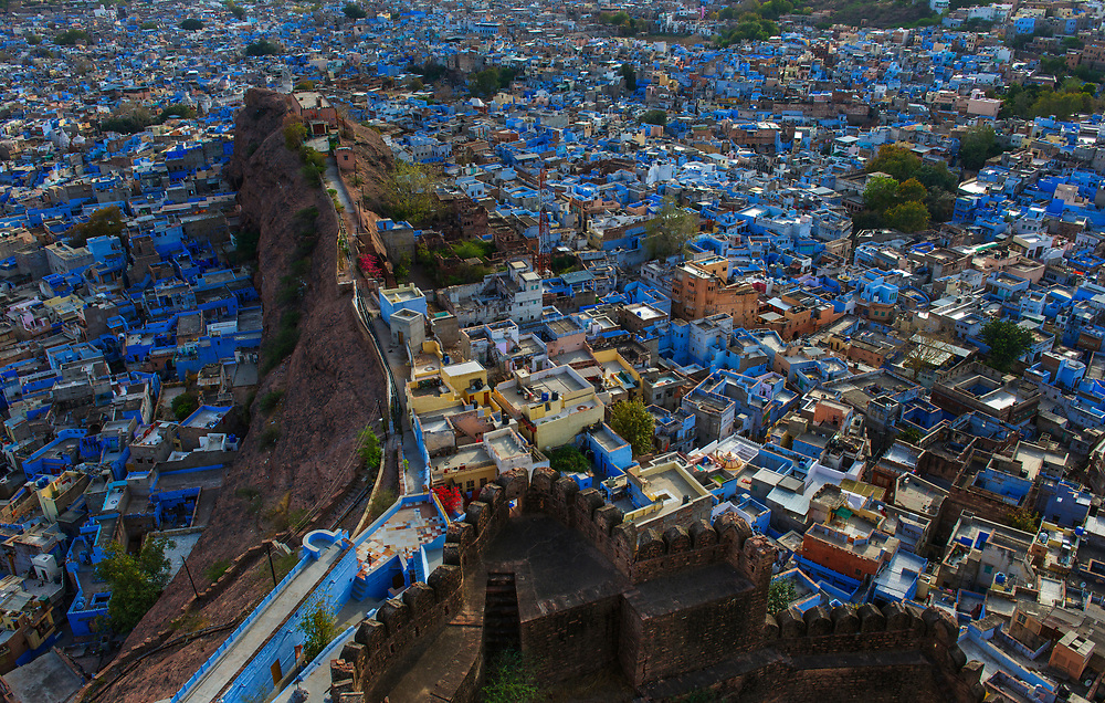 "Mehrangarh Fort dominates the ""blue"" city of Jodhpur, and provides spectacular views."
