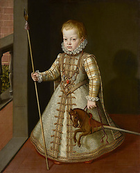 © Licensed to London News Pictures. 05/09/2011. London, UK. A portrait of Prince Don Diego (1575 – 1582), who died at the age of seven and was the son of King Philip II of Spain, has had a temporary export bar placed on it to provide a last chance to keep it in the UK.  Unless a matching offer of £4,250,000 can be raised, the painting will be exported. Portrait of Don Diego, son of King Philip II of Spain (1577) painted by Alonso Sanchez Coello, is a rare example of Spanish court portraiture of a child from this period, and is credited with having being an important precedent for Velázquez who was to paint many portraits of the Spanish Royal children during his time as court artist for King Philip IV.Photo credit : LNP