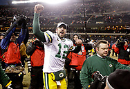 Green Bay Packers' Aaron Rodgers after beating the Bears 21-14 for the NFC Championship. <br /> The Green Bay Packers traveled to Soldier Field in Chicago to play the Chicago Bears in the NFC Championship Sunday January 23, 2011. Steve Apps-State Journal.