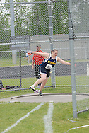 Hamilton, Ontario ---05/06/08--- Michele Belanger of Kapuskasing in Kapuskasing competes in the senior girls discus at the 2008 OFSAA Track and Field meet in Hamilton, Ontario..MARK BUTTERWICK
