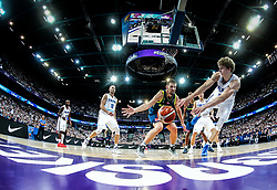 Gasper Vidmar of Slovenia vs Lauri Markkanen of Finland during basketball match between National Teams of Finland and Slovenia at Day 3 of the FIBA EuroBasket 2017 at Hartwall Arena in Helsinki, Finland on September 2, 2017. Photo by Vid Ponikvar / Sportida