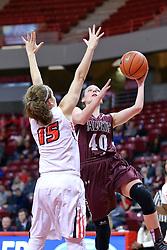 29 January 2017: Carlie Corrigan lays the ball on the glass passing by defender Frannie Corrigan during an College Missouri Valley Conference Women's Basketball game between Illinois State University Redbirds the Salukis of Southern Illinois at Redbird Arena in Normal Illinois.