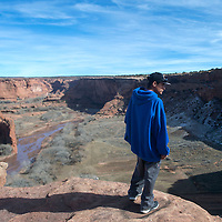 Gilfred Brown stands on the edge off Canyon de Chelly looking out over the vista Wednesday in Chinle.