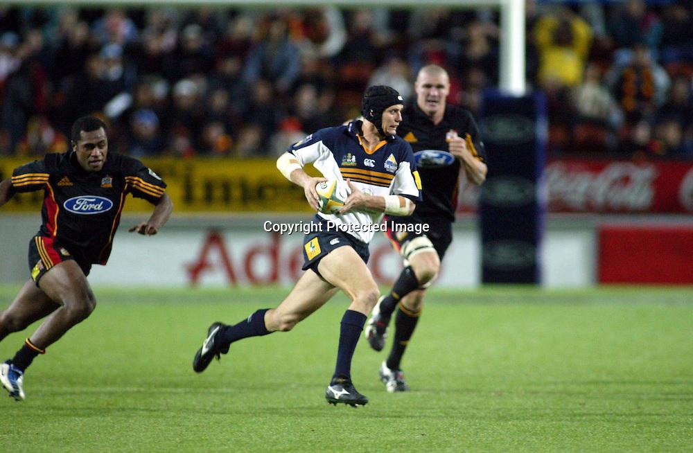 8 May 2004, Rebel Sport Super 12, Chiefs vs Brumbies, Waikato Stadium, Hamilton, New Zealand.<br /> Stephen Larkham<br /> Please credit: Photosport