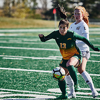 4th year forward, Sydney Langen (13) of the Regina Cougars during the Women's Soccer home game on Sun Oct 14 at U of R Field. Credit: Arthur Ward/Arthur Images