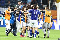 13.07.2011, Commerzbank Arena, Frankfurt, GER, FIFA Women Worldcup 2011, Halbfinale,  Japan (JPN) vs. Schweden (SWE), im Bild.Freude Japan.. // during the FIFA Women´s Worldcup 2011, Semifinal, Japan vs Sweden on 2011/07/13, Commerzbank Arena, Frankfurt, Germany.   EXPA Pictures © 2011, PhotoCredit: EXPA/ nph/  Mueller       ****** out of GER / CRO  / BEL ******