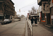 Checkpoint Charlie, the crossing point between East and West Berlin, Germany, during the Cold War. Photo taken in 1978.
