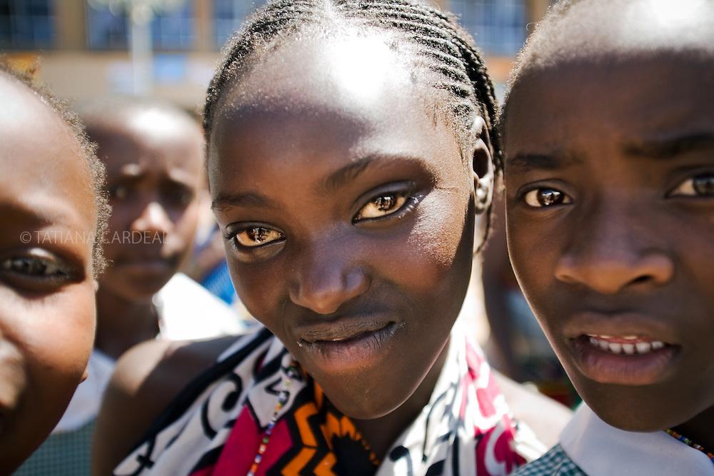 Girls from Amani Neighborhood Orphan Center, visit Kasarani Stadium during the VII World Social Forum. Nairobi, Kenya, Africa.