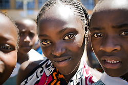 Girls from Amani Neighborhood Orphan Center, visit Kasarani Stadium during the VII World Social Forum. Nairobi, Kenya, Africa.