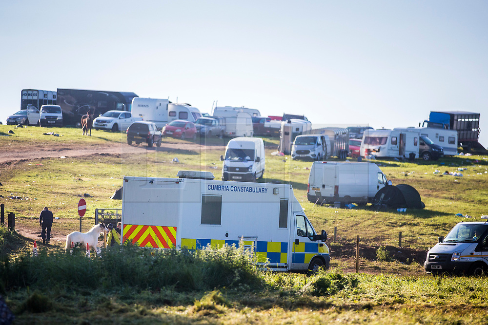© Licensed to London News Pictures. 10/06/2019. Appleby UK. Police remain in Appleby this morning as Travellers leave the Appleby Horse Fair in Cumbria. Appleby Horse Fair attracts around 10,000 Gypsies & Travellers & is thought to be the largest Gypsy Fair in Europe. Photo credit: Andrew McCaren/LNP
