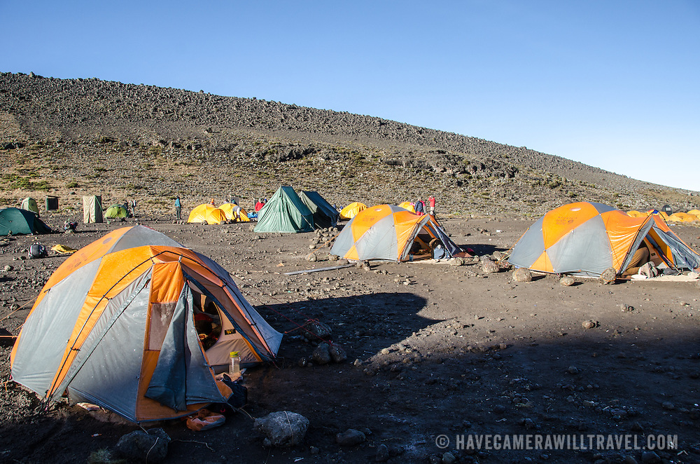 Tents at Moir Hut Camp (13,660 feet) on Mt Kilimanjaro's Lemosho Route.
