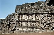 Northern India  - Konarak. Surya-Deul, 13th century. Side wall of 'temple cart'. Photograph.